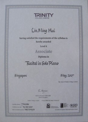 Associate Diploma in Piano (ATCL)